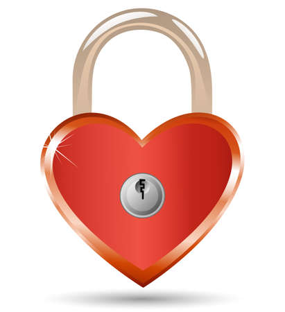 Heart Lock and Key. Padlock in the shape of a heart. Stock Vector - 6396992