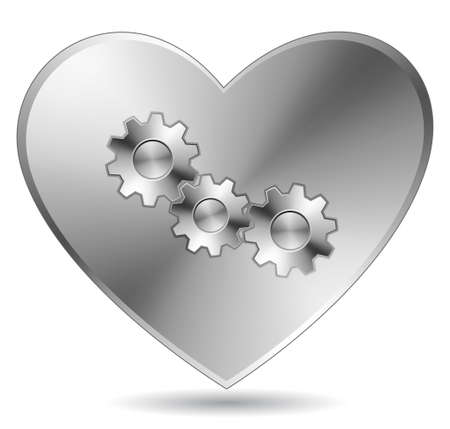 Steel heart with gears. Stock Vector - 6397098
