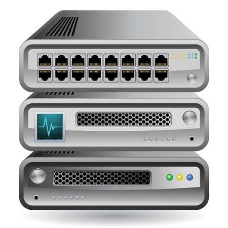 firewall: Netzwerk-Equipment-Symbol. Netzwerk-Router, Switch oder Server.