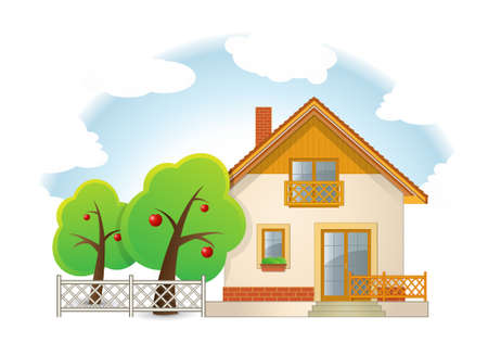 Highly detailed illustration of House with Garden Vector