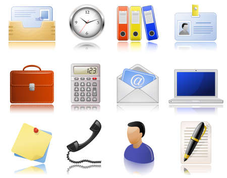 highly: Office supplies. icon set. Highly detailed icons with a reflection. Illustration