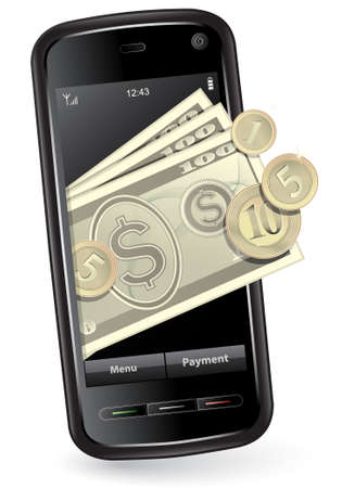 money transfer: Mobile payment concept. Mobile phone with money.