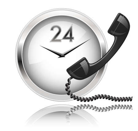 telephone line: Wall clock and telephone receiver. Round the Clock Support or 24x7 Support.
