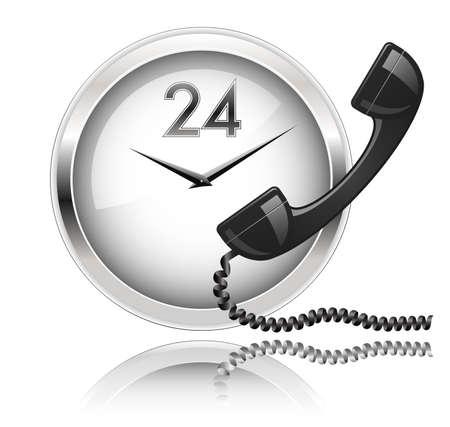 Wand klok en telefoon hoorn. Rond de klok Support of 24x7 support.