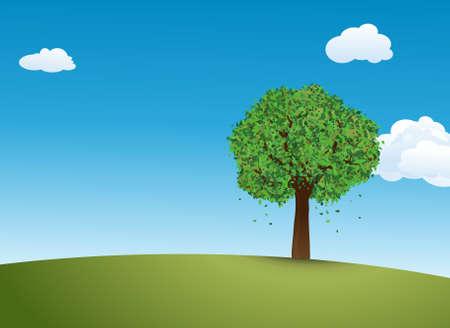 crone: Summer tree on a meadow against a blue sky