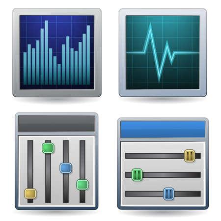 Monitoring Icon Set Stock Vector - 6634337