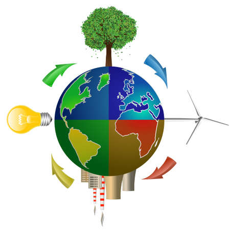 factory power generation: Eco concept. Globe with Tree, Wind Turbine, Light Bulb and Nuclear Power Plant
