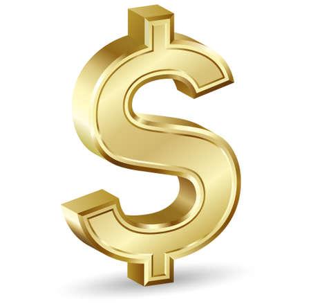 signo pesos: Signo de d�lar dorado