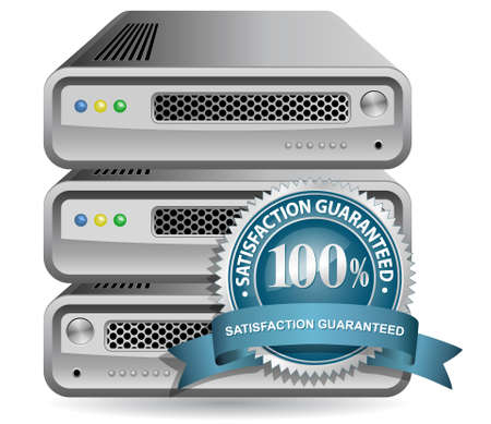 Network Equipment Icon with Satisfaction Guarantee Sign Stock Vector - 6634345