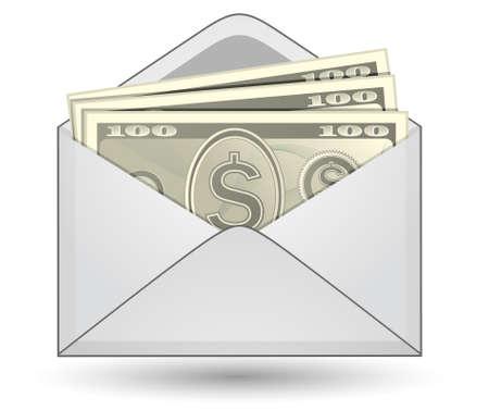 stack of cash: Dinero en un envolvente  Vectores