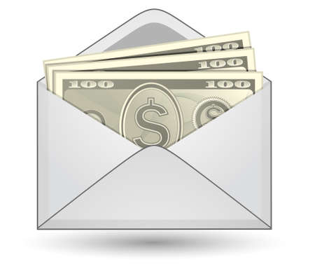hundred dollar bill: Money in an envelope