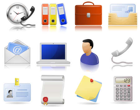 paperwork: Office supplies. icon set. Highly detailed icons with a reflection and shadows.