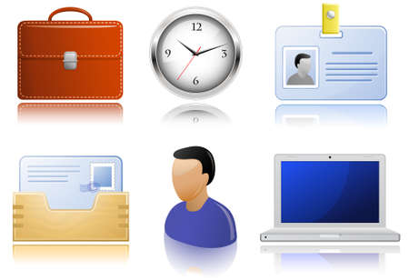 Office supplies. Highly detailed icons with a reflection. Vector