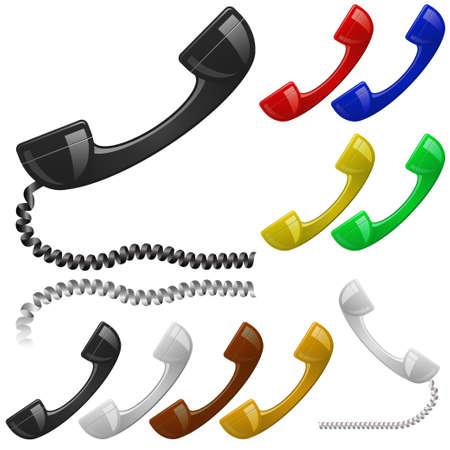 Conjunto de receptor de teléfono en color. Póngase en contacto con nosotros icono.  Ilustración de vector