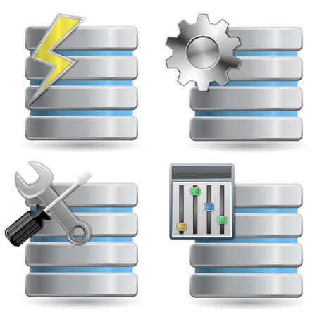 databank: Data base - Web Hosting Icons  Stock Illustratie
