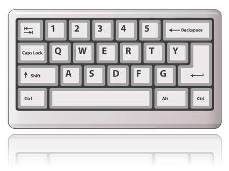 qwerty: White keyboard.  illustration.