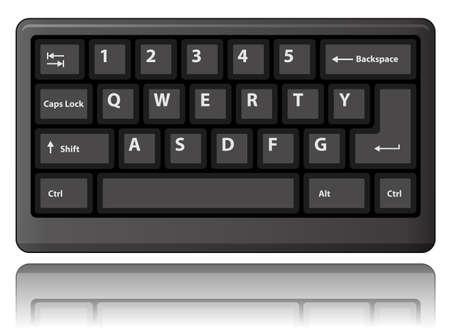 qwerty: Black keyboard. illustration.