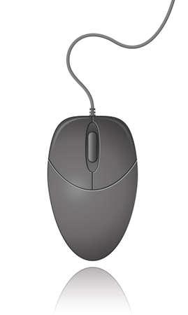 clique: Black Computer Mouse.  Illustration. Illustration