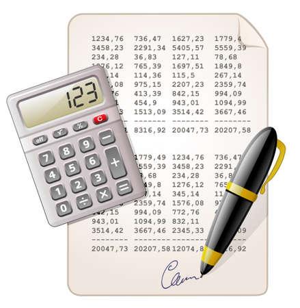 rekenmachine: Boekhouding. Reken machine, pen en en financieel verslag.