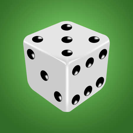 certain: White dice on the green background