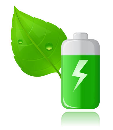 Green Battery and Green leaf with drops of water. Eco Concept. Stock Vector - 6815629