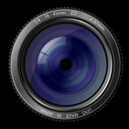 autofocus: A camera lens  illustration with realistic reflections on black background