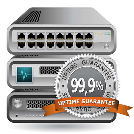 stamper: Network Equipment Icon with 99,9 % Uptime Guarantee Sing Illustration