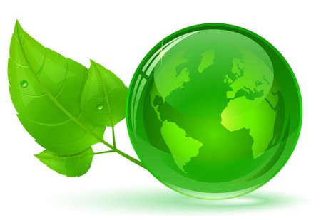 wereldbol groen: Globe en groene bladeren met water druppel. Eco-concept. illustratie.