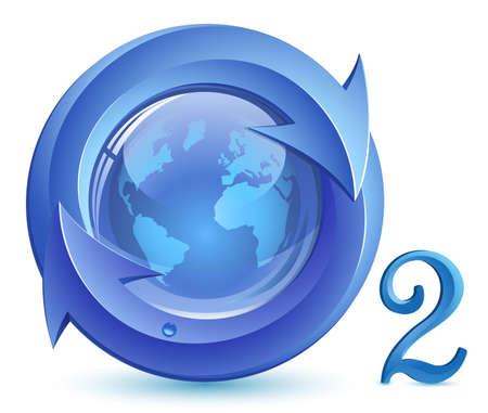 Tlenu. O2. Koncepcja ekologicznego. Kula ziemska, strzałki z kropli wody.  Ilustracje wektorowe