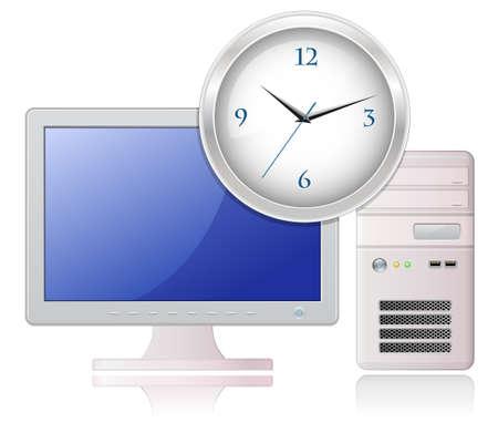 office clock: Ilustraci�n muy detallada de PC de Desktop de Light Grey y reloj de Oficina Vectores