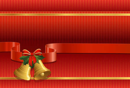 Christmas background. Christmas bells, holly, bow and ribbon Vector