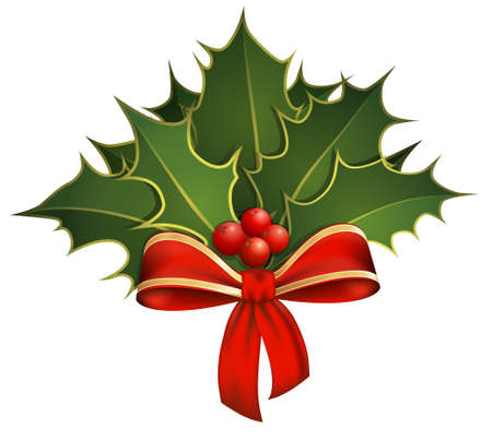 Christmas decoration with holly branches and bow Vector