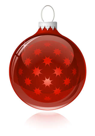 Red christmas ball. Christmas bauble with reflection Vector