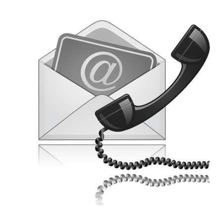 hotline: Kontaktieren Sie uns Symbol. E-Mail und Telefon