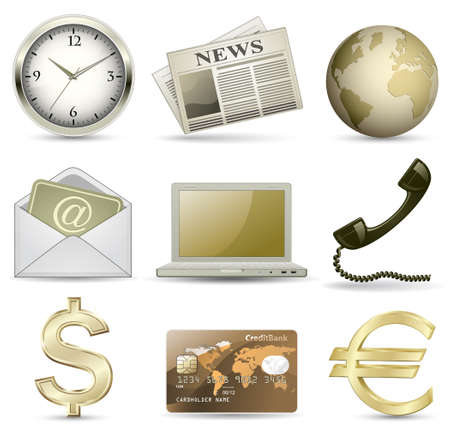 newspaper articles: Business website gold icon set Illustration