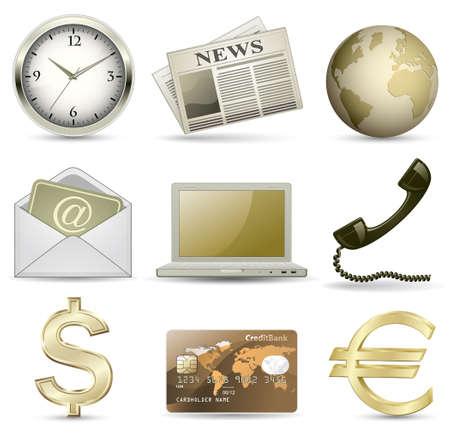 iconos contacto: Conjunto de iconos de sitio web empresarial de oro