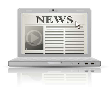 an article: Online newspaper. Laptop and news website. Web 2.0 newspaper icon.