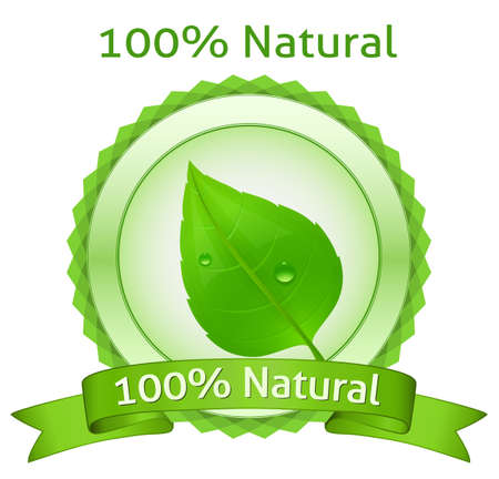 water drops on leaf: 100% Natural. natural label.