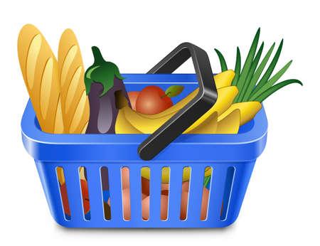 canasta de frutas: Cesta de la compra con alimentos. Azul los cesta de la compra de productos