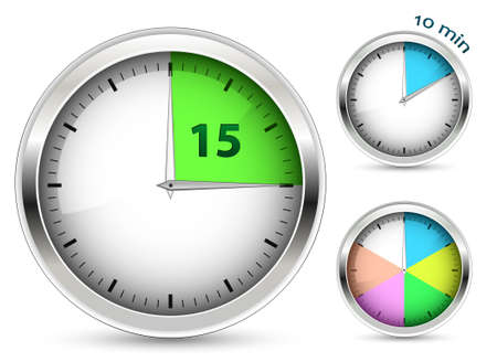timer: Set of timers. illustration. Illustration