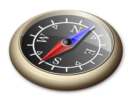 Illustration Of Brass Compass Vector
