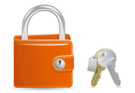 key ring: Money security concept. Locked Wallet. Illustration of a wallet closed on the lock and a bunch of keys.