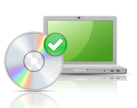 dvd: Software. Laptop und Software Disk mit Reflexionen.