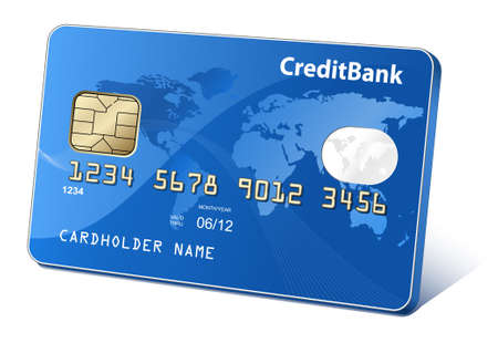 Credit or debit cards with world map and reflections. Payment concept.  Vector