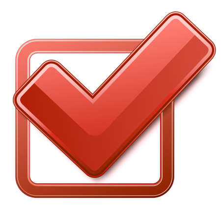Red check box with check mark Çizim