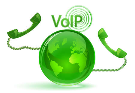 Globe and phone receivers. VoIP.  Global communication concept.