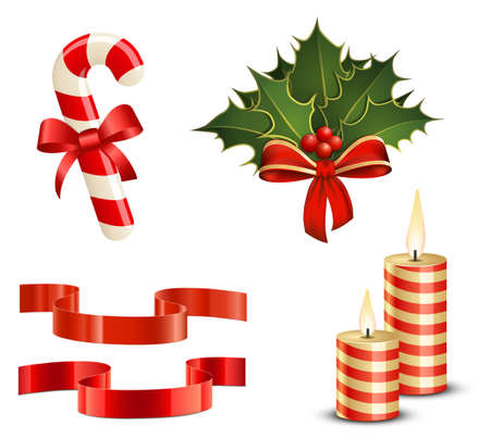 Christmas icon set. Candy Cane, Christmas Holly, Ribbons and Candles Vector