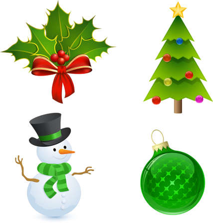 Christmas icon set. Christmas Holly, Tree, Snowman and Bauble Vector
