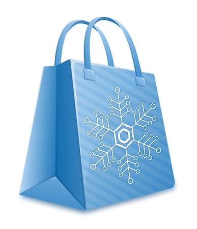 kerst markt: Christmas shopping bag. Blue striped boodschappentas met sneeuwvlok. Kerstmis verkoop Stock Illustratie