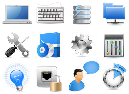 Web Hosting Panel. 12 Highly Detailed Vector Illustrations.